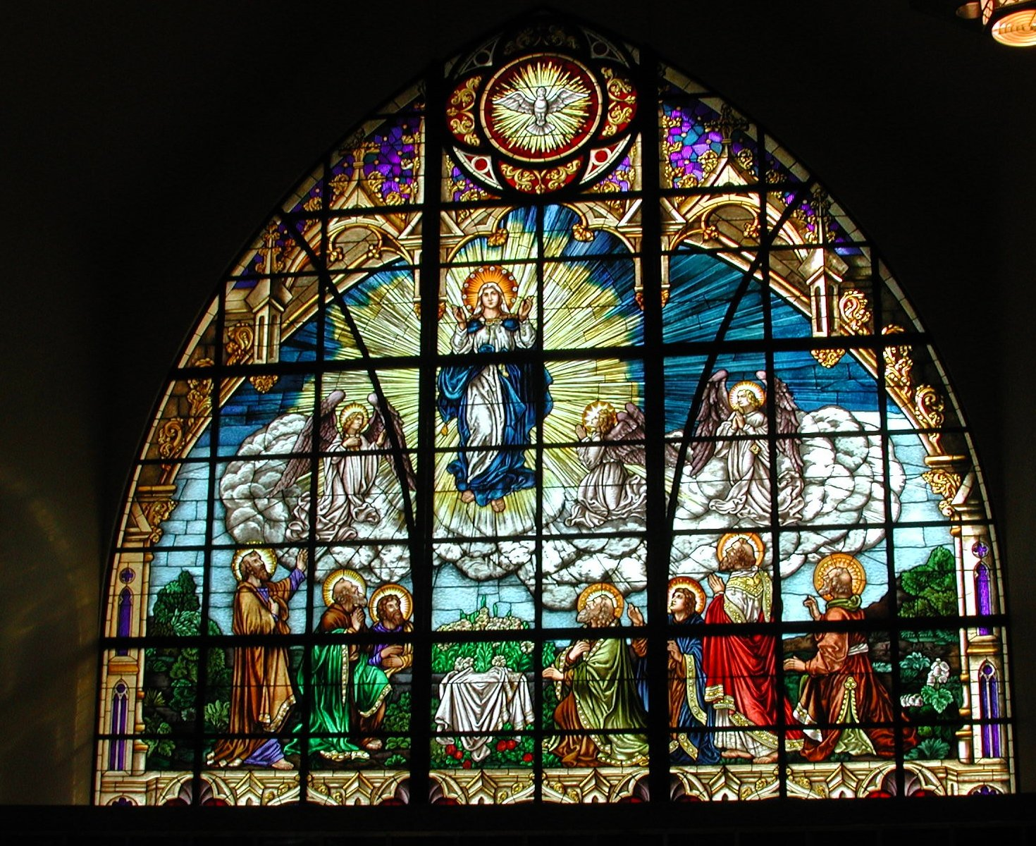 One of Heritage's largest windows, the Assumption.