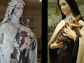 Before and after of a restored Saint Therese of Lisieux statue